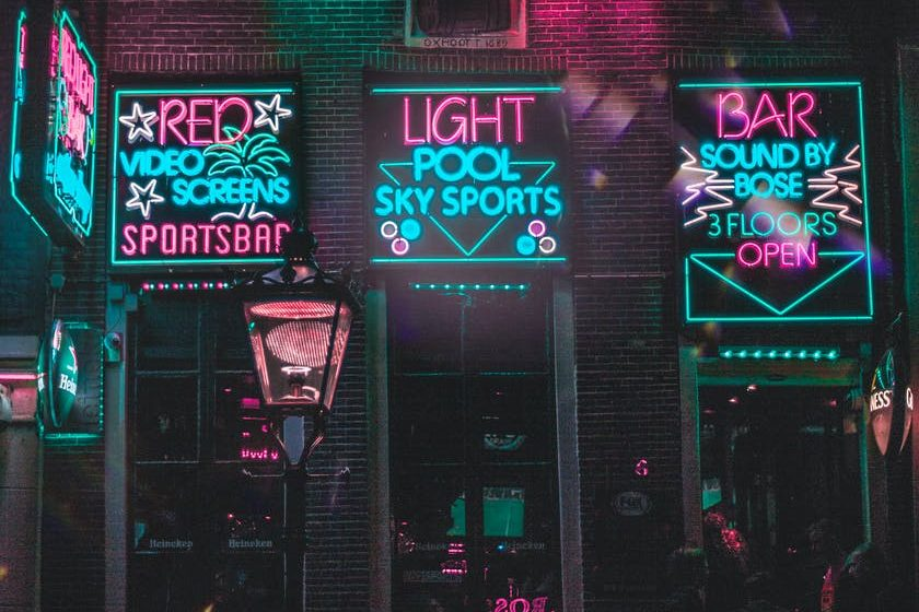 neon light signages on wall