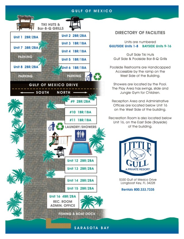 Little Gull Cottages Site Map