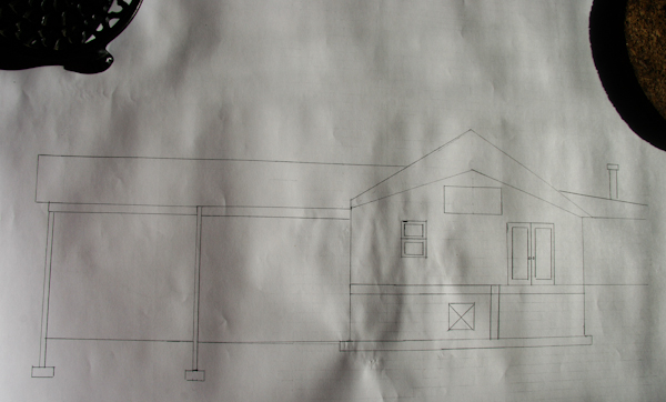 South face of the building, with (R to L) oven, bakery w/loading dock, covered drive and packing shed.