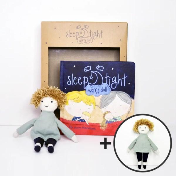 Sleep Tight Worry Doll & Book boy set with extra boy doll
