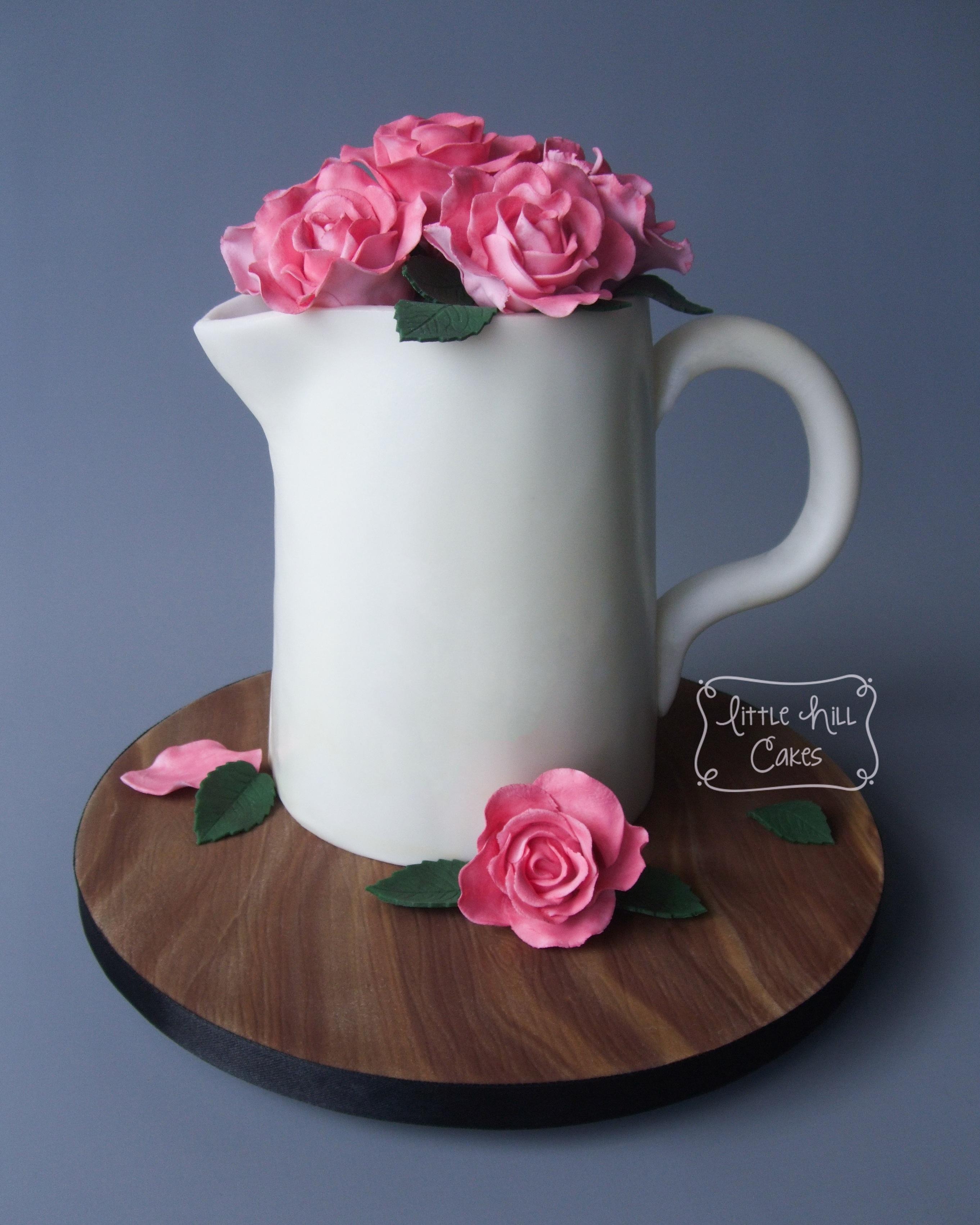 Jug Of Roses Birthday Cake