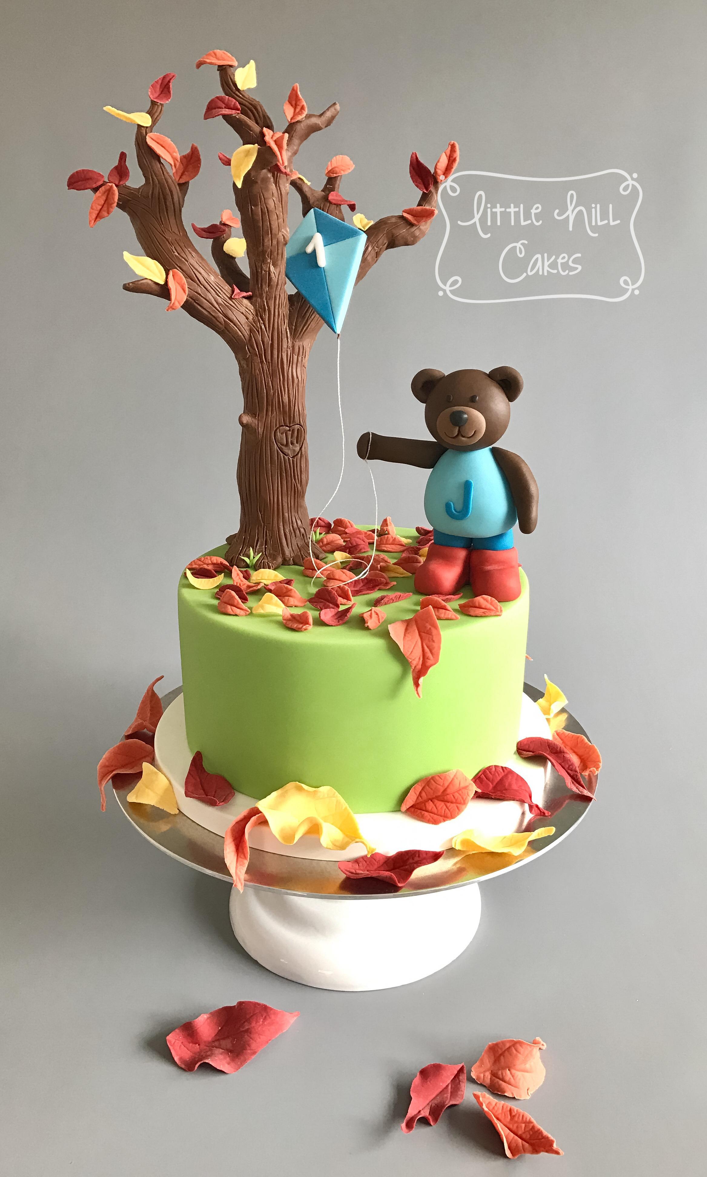 Autumn Fall Teddy Bear 1st Birthday Cake