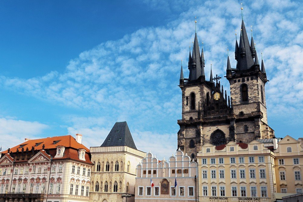 The spires of the Church Before Our Lady of Tyn dominate Prague's Old Town Square.