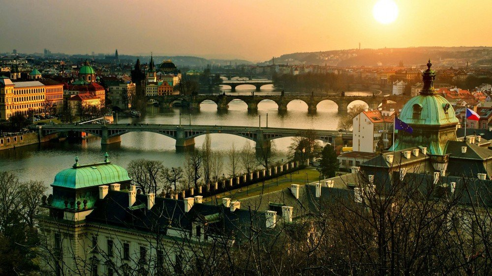 Beautiful views of the Vltava river in Prague.