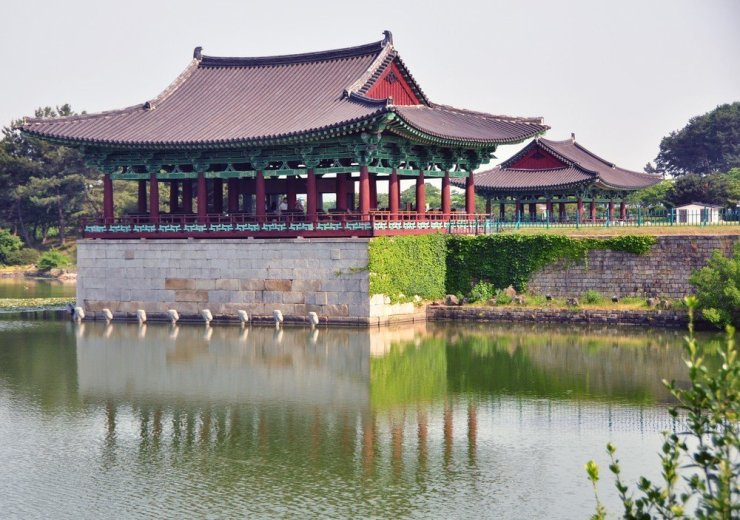 The Wolji pond and pagoda in Gyeongju, South Korea.