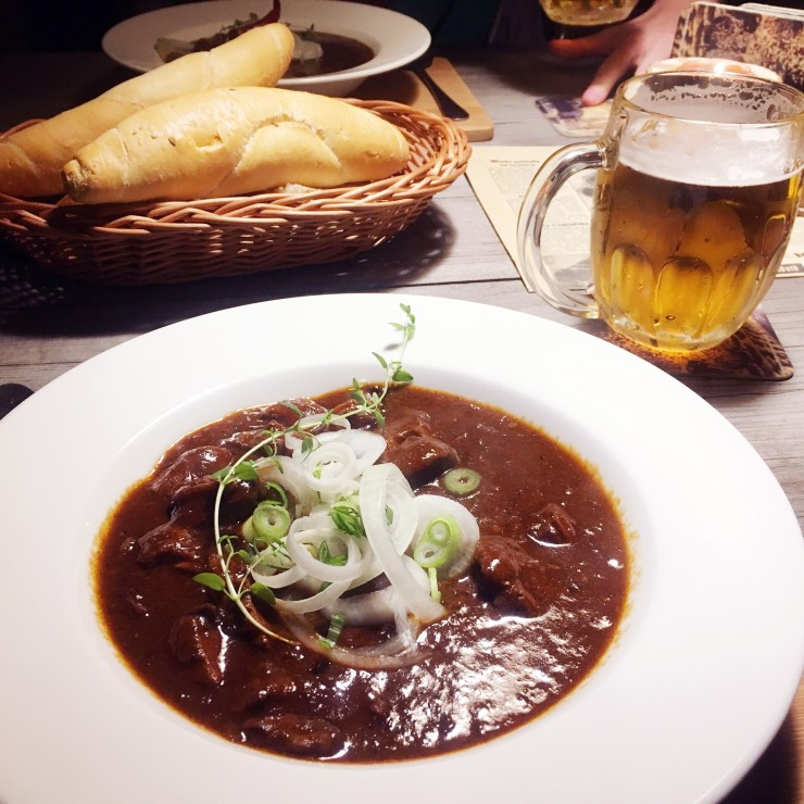 When in the Czech Republic, you just have to try beef goulash and Czech beer.