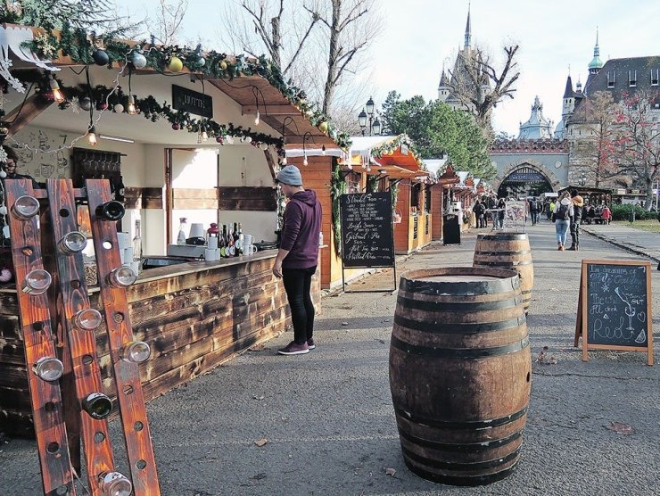 Christmas markets at the Vajdahunyad castle grounds in Budapest, Hungary