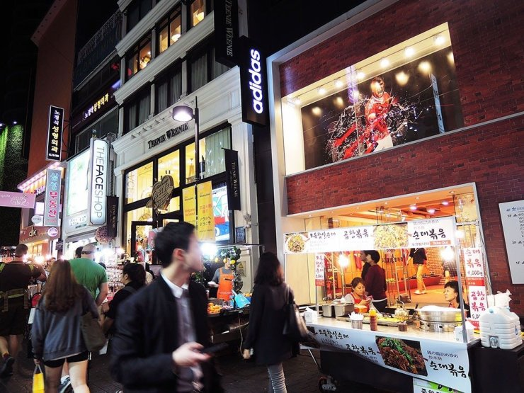 When in Seoul, South Korea, drop by Myeongdong, the city's most stylish shopping district.