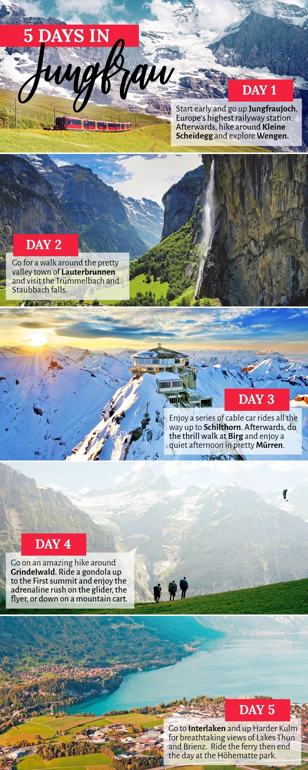 Enjoy the perfect little holiday in the Swiss Alps. Spend at least 5 days in Jungfrau and enjoy stunning views of majestic snow-capped peaks and dreamy alpine meadows, then unwind in cozy chalets and indulge in hearty cuisine. Here's your essential travel guide to Jungfrau, Switzerland.