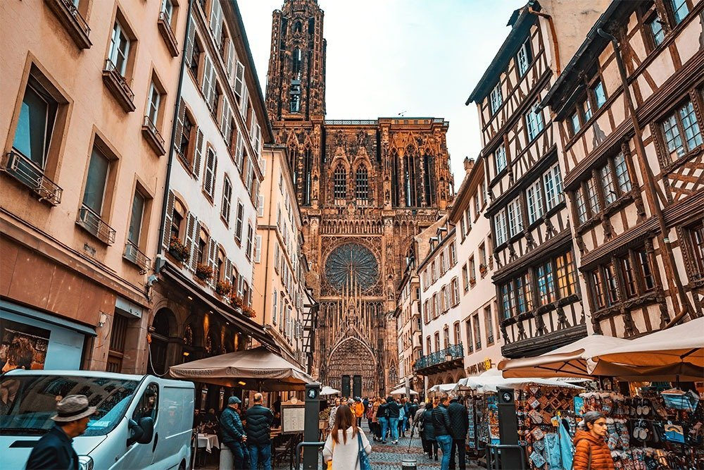 Strasbourg travel guide - You'll find lots of shops and stalls around the Cathedral of Our Lady of Strasbourg. If you're looking for regional treats and products, you'll find it here.