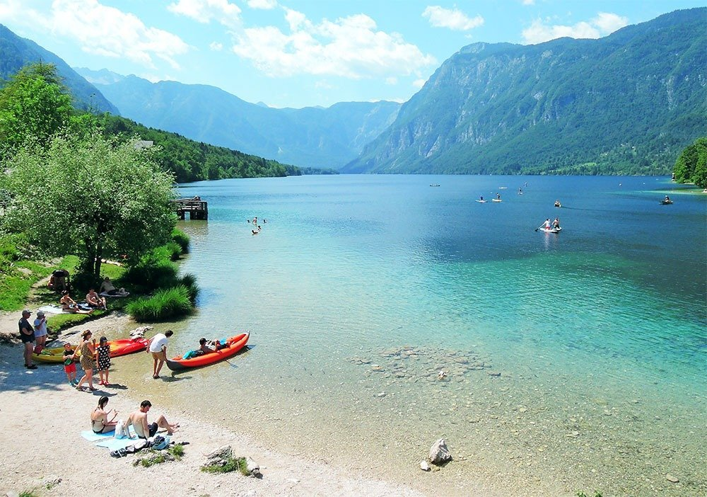 Best things to do in Slovenia – drive to Lake Bohinj and spend the day swimming and relaxing by the lake.