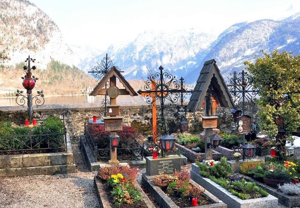 These graves in the Hallstatt cemetery grounds come with their own flower gardens and a view of the lake.