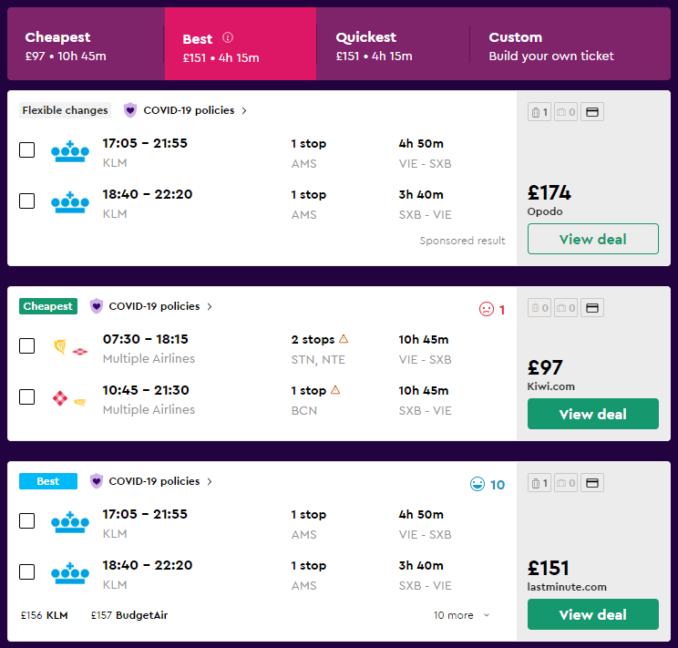 "Tips for finding the perfect flight in Momondo – arrange the results by price (cheapest) or travel time (quickest). The ""best"" flights are the perfect balance of price and flight duration."