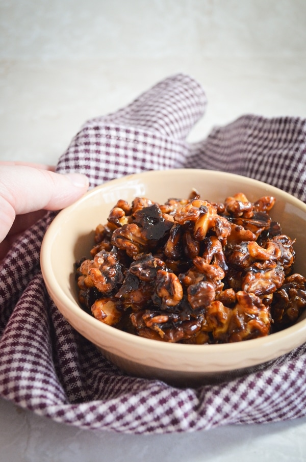 These delicious Maple Candied Walnuts are the perfect treat for the holidays, and make an impressive garnish for soups and salads. Naturally sweetened, they are a healthy and whole food recipe that is sure to win your family over. Best of all? Just 3 simple real food ingredients!