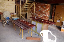 Oiling the doors and frames