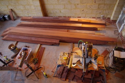 The floorboards were sorted and cut on the ground floor