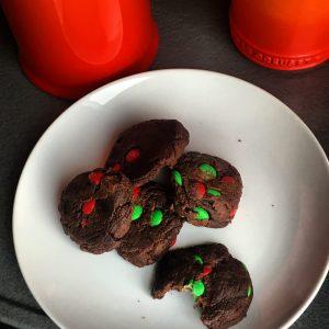chocolate pudding cookies-m&m