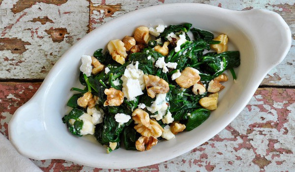 Creamed Spinach with Feta and Walnuts