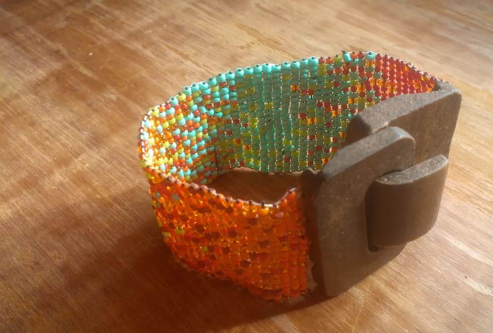 making things everyday: bead loom cuff bracelet with wooden clasp