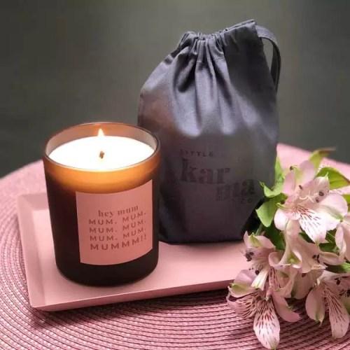 HEY MUM large refillable personalised candle. Personalised candles and gifts for mum