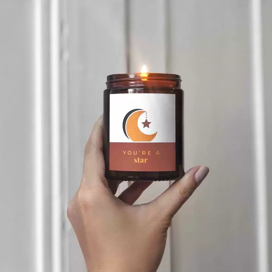 moon and star | personalised vegan candle