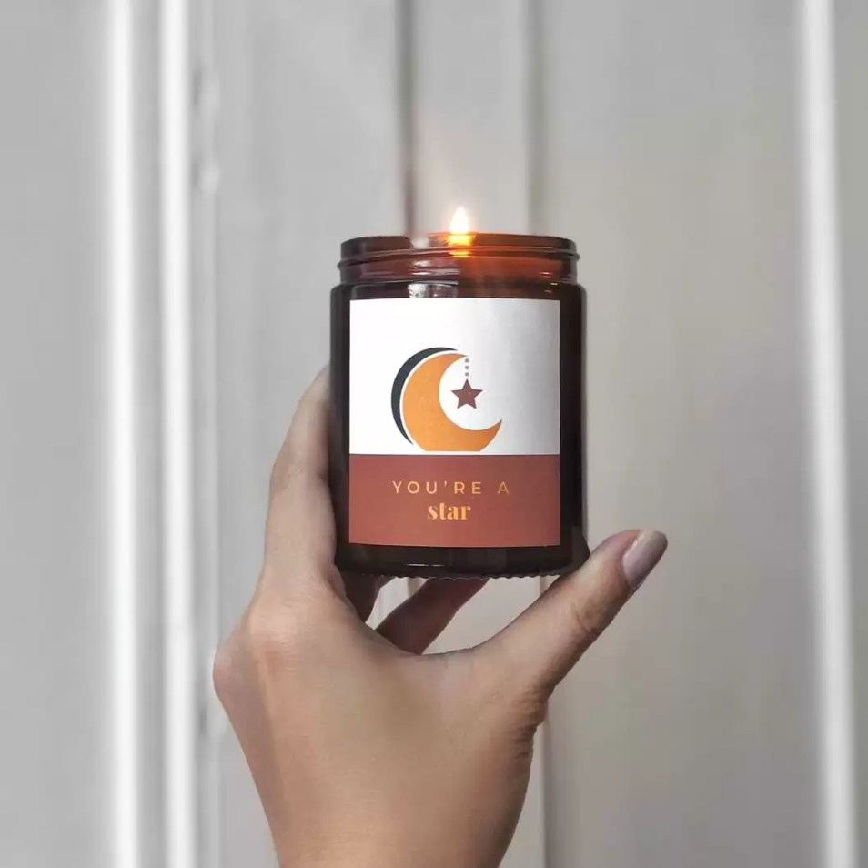moon and star design personalised midi candle