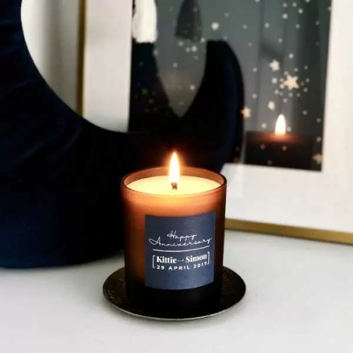 Happy Anniversary personalised anniversary gift. Large refillable candle with personalised label in navy