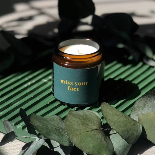 miss your face personalised mini candle in green