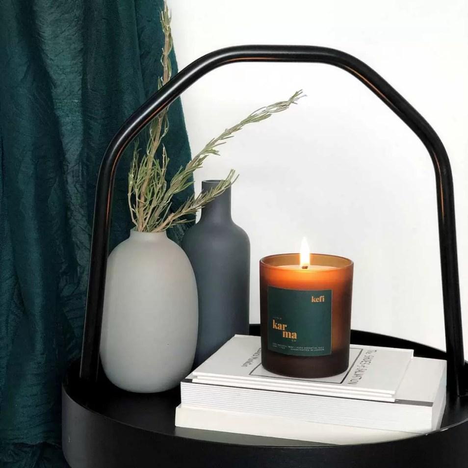 kefi invigorating rosemary spearmint large candle in matt finish glass