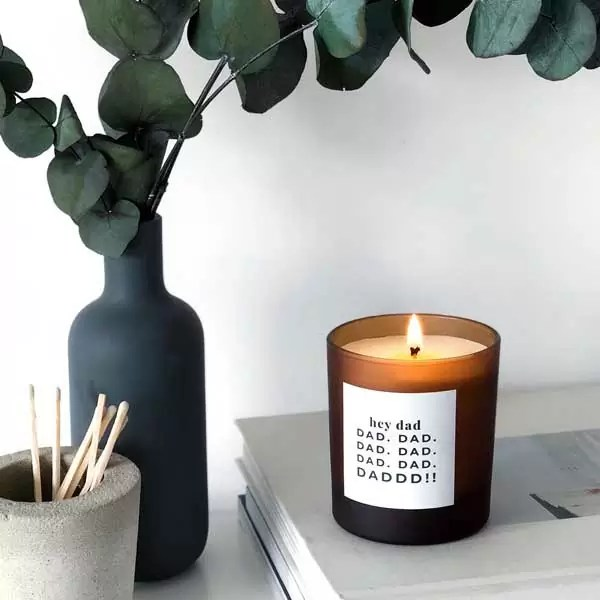HEY DAD midi refillable personalised scented candle. Father's Day gift for men