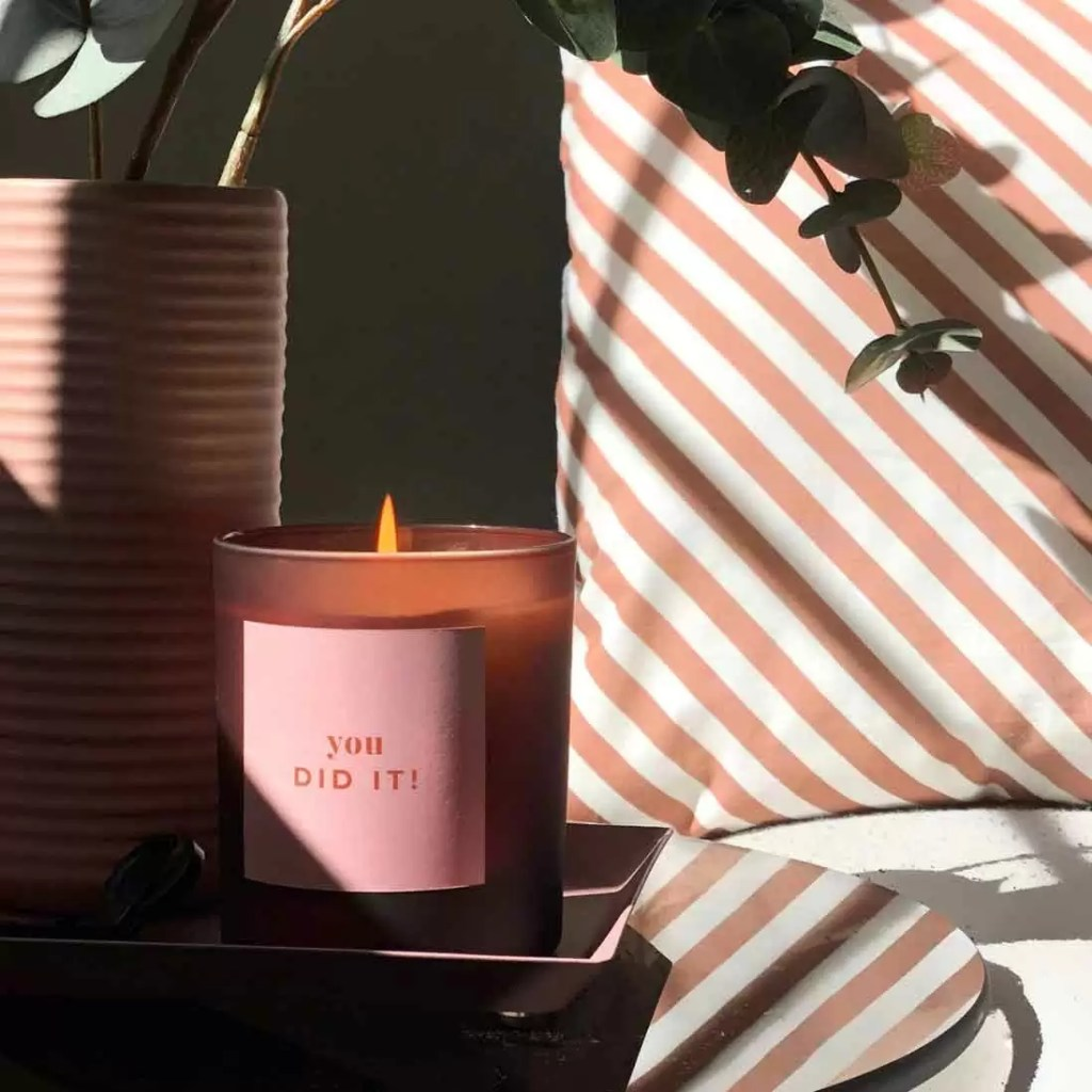 YOU DID IT personalised refillable candle in pink