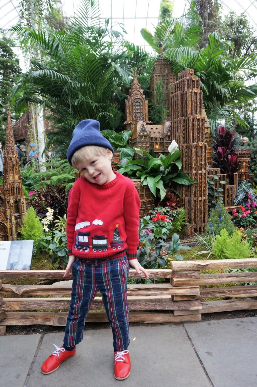 New York Botanical Garden Train Show with rain Sweater
