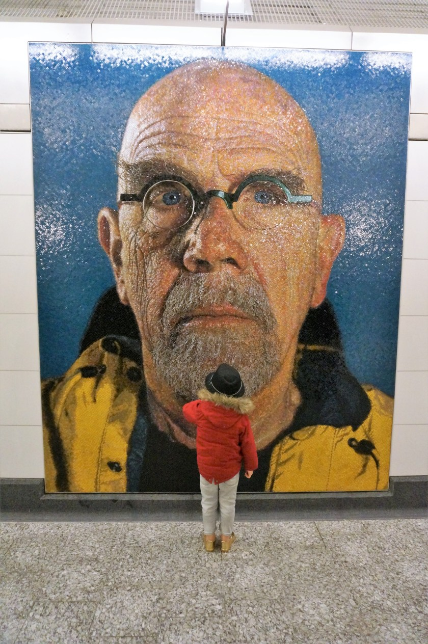 Self Portrait of Chuck Close at Second Ave Subway