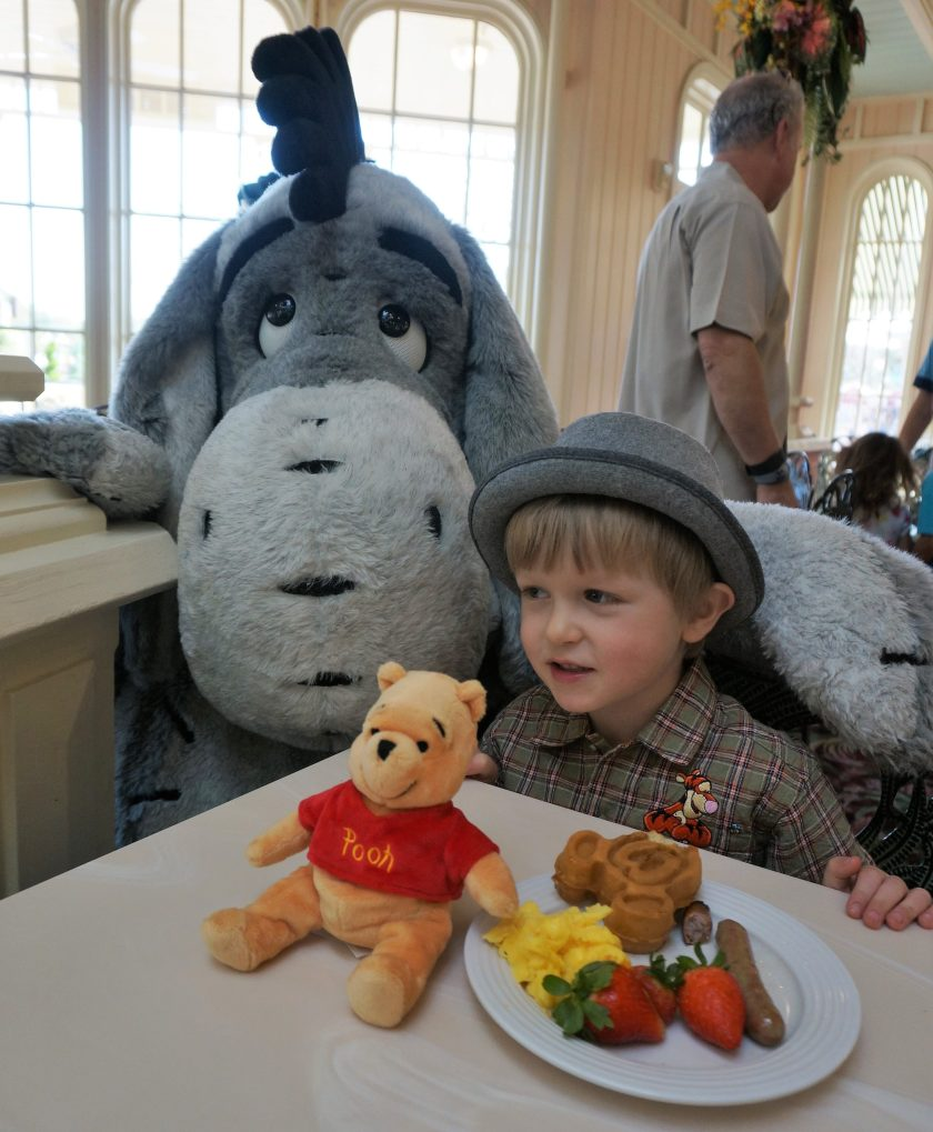 Meeting Eeyore at the Crystal Palace Character Breakfast