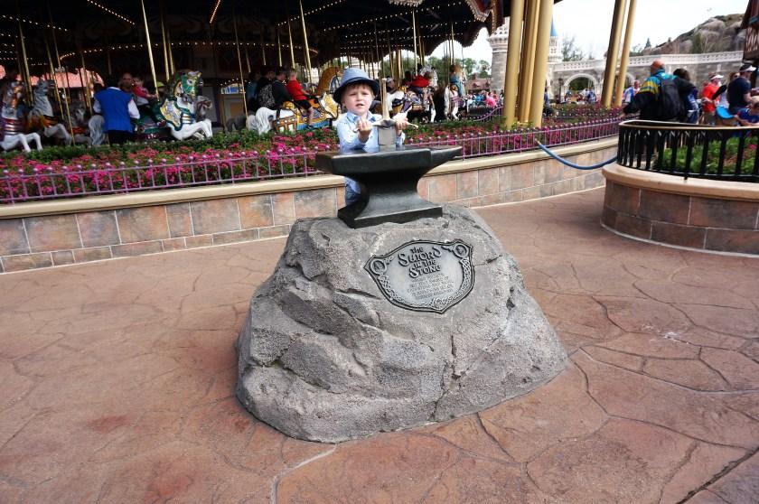 The sword in the stone at Walt Disney World's Magic Kingdom