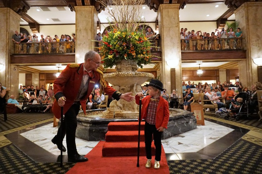 Receiving the honorary Duckmaster cane at the Peabody Memphis