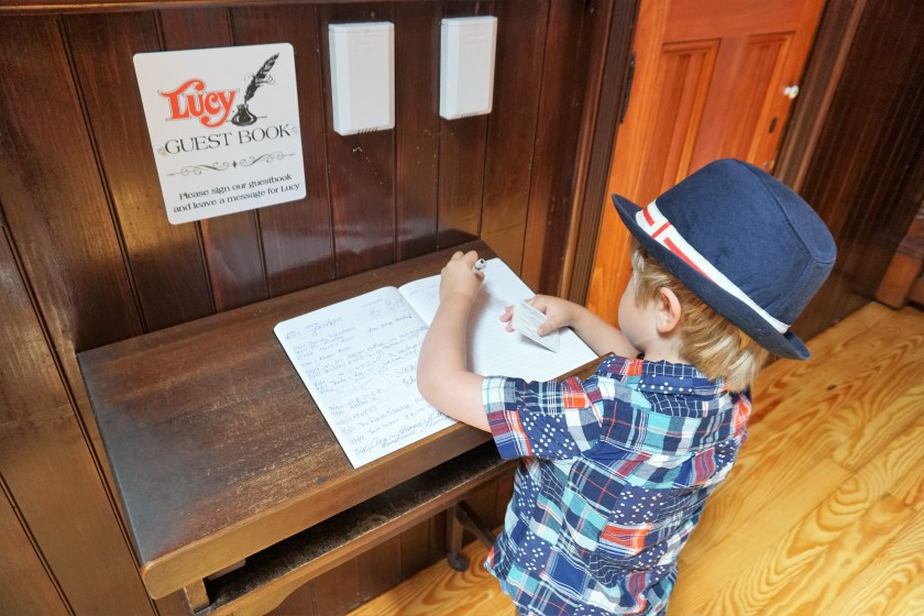 Singing the guestbook in Lucy the Elephant