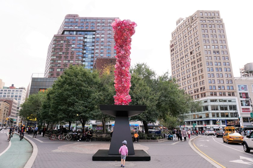 Rose Crystal Tower by Dale Chihuly at Union Square