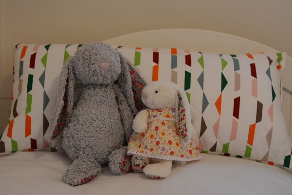 toddler bed from cot 19 month old coloured cushion and jellycat teddies