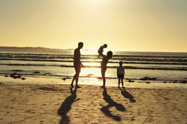 family sunset silhoutte in france