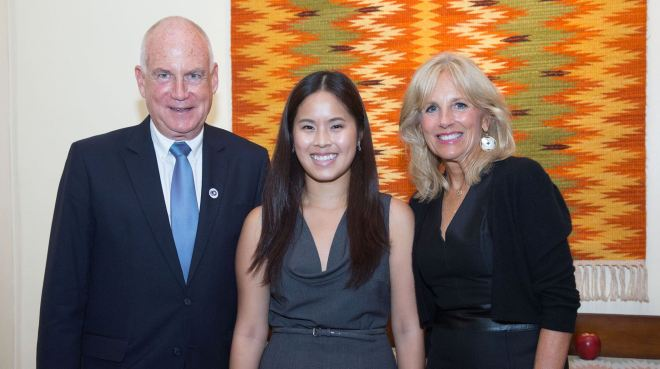 Lao American diplomat Stacey Phengvath poses with U.S. Ambassador to Laos Daniel Clune (left) and Dr. Jill Biden, educator and wife of Vice President of the United States Joe Biden (right), at a U.S. Embassy Vientiane function.