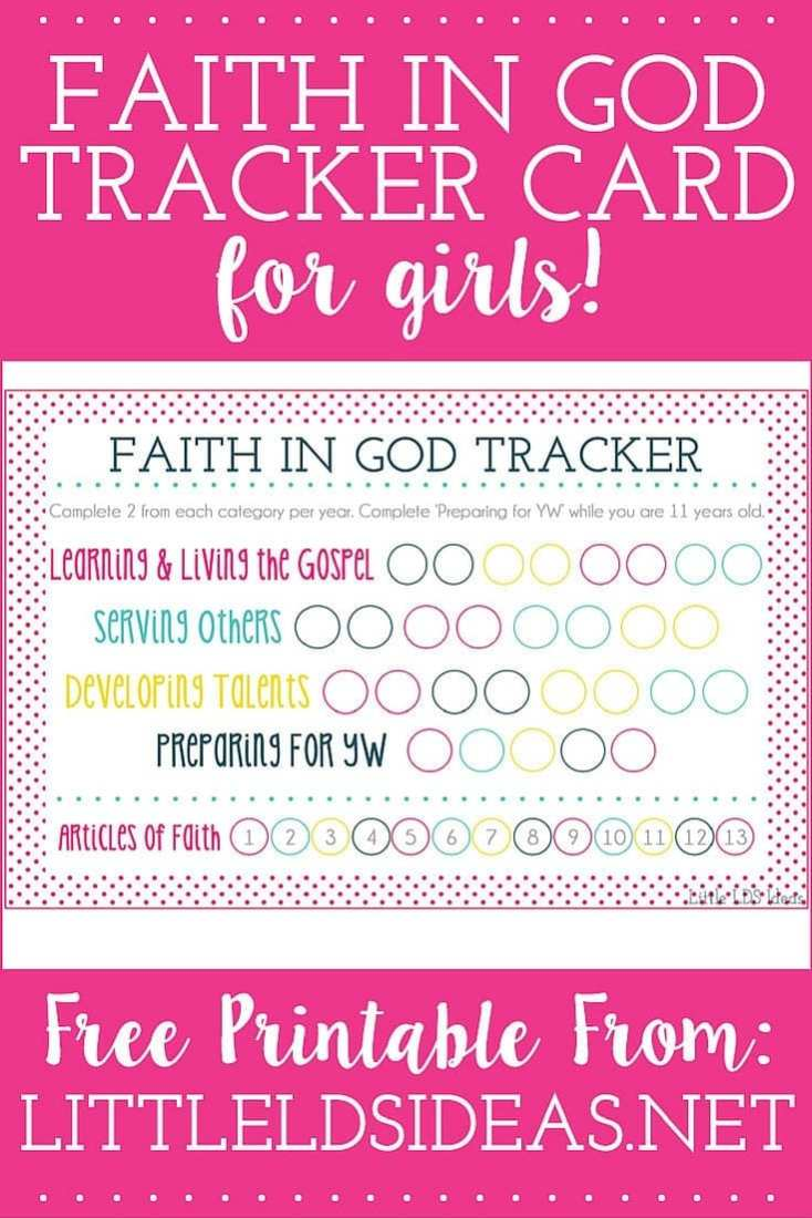 Faith In God Tracker Card for girls