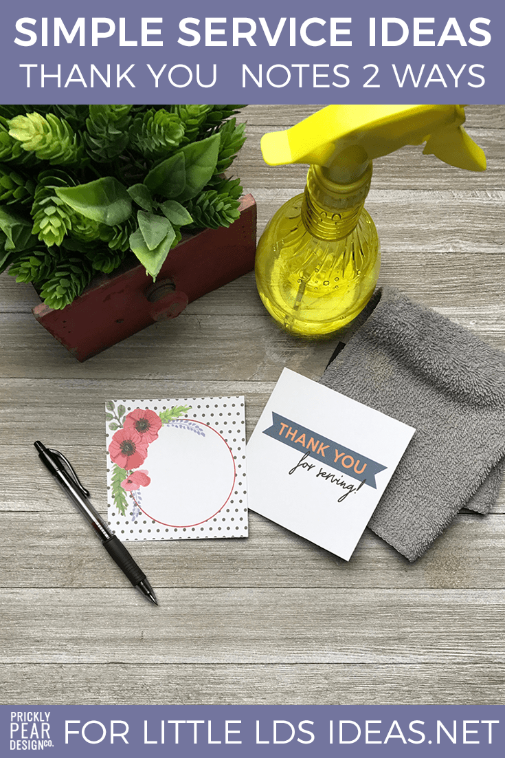 Simple Service Note Card Printables | LDS Young Women | LDS Activity Day Girls Group Service Projects | Free Printable
