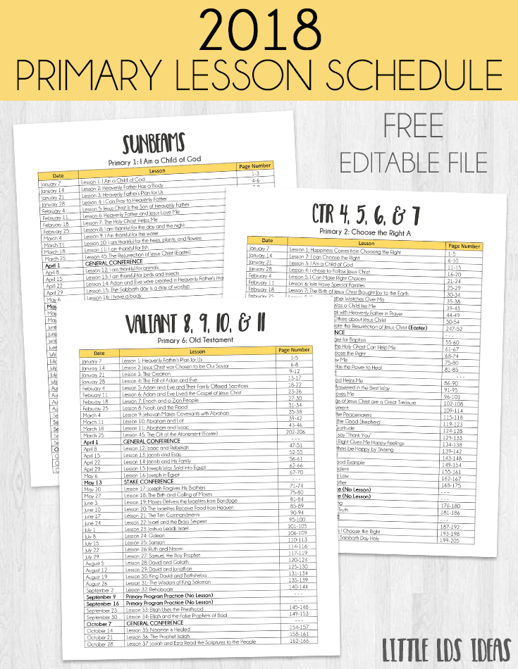 2018 Primary Lesson Schedule Printable