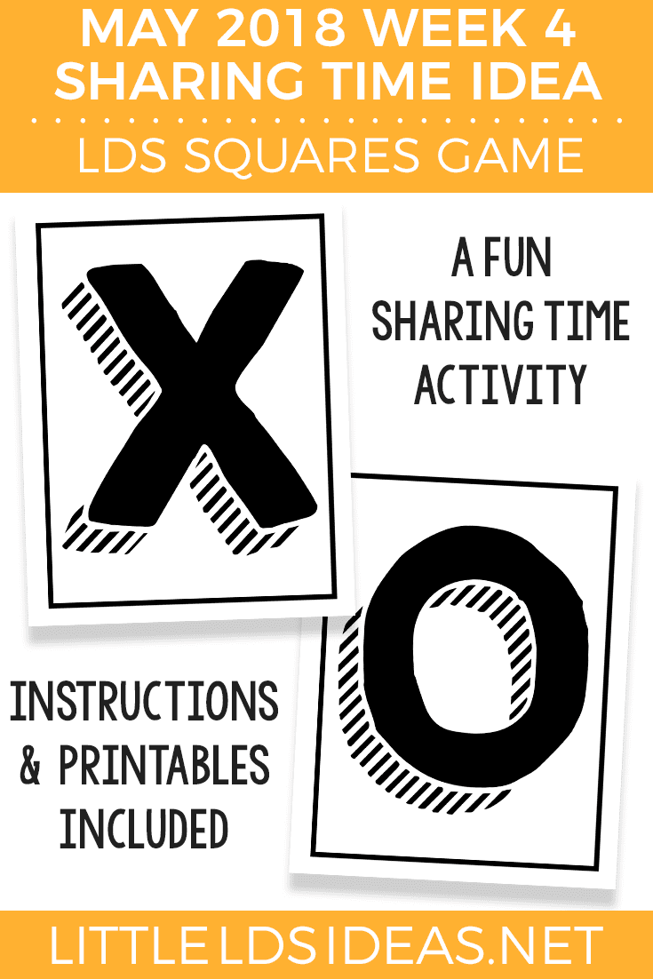 LDS Squares Word of Wisdom Game for May 2018 Week 4 Word of Wisdom Sharing Time Idea