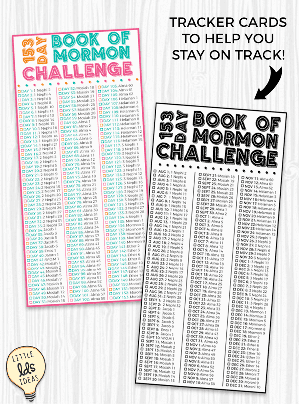Book of Mormon Reading Tracker Cards. President Hinckley Book of Mormon Challenge.