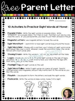 10 sight word activities for home or the classroom little learning corner. Black Bedroom Furniture Sets. Home Design Ideas