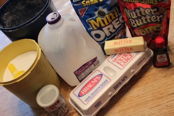 mini oreos, nutter butters, sugar, milk, eggs, butter, flour, cookies, cupcakes