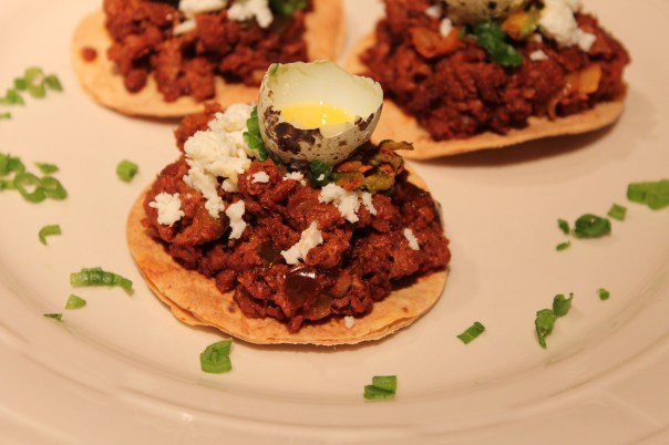 chocolate, bell pepper, how to use, soy chorizo, chorizo, make your own tostadas, quail egg, raw, how to open