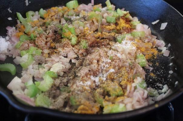 stuffing, cakes, spicy, chili powder, curry powder, celery, onions, garlic, sage, side dish, recipe